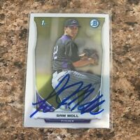 Sam Moll Signed 2014 Bowman Chrome Prospects Auto Rc Colorado Rockies