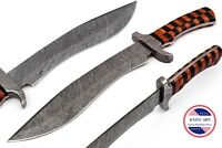 Damascus Knife Handmade Hunting Knife Bowie 15.5 inch wooden handle MBE837