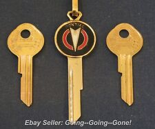 PONTIAC 18kt GOLD COLORCREST KEY BLANK SET IGN/TRK VTG KEYCHAIN B44 B45 1969-94