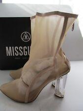 MISSGUIDED STELLA-5 LADIES MESH PANEL PERSPEX BLOCK HEEL ANKLE BOOT NUDE SIZE 7
