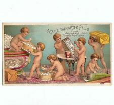 Antique Victorian Trade Card AYERS CATHARTIC PILLS Lowell Mass. Cherubs Working