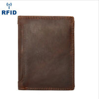 Men's Leather Wallet Bifold ID Card Holder  Billfold Coin Trifold Purse Clutch
