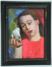 "Joseph Newman (New York, 1890 - 1979) ""Girl with Dove"" oil on Maso(BI#MK/180517)"