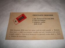 Vintage Advertising Card Rockwood Chocolate Bits for cooking Memo Card