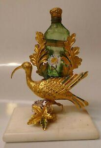 Circa 1870/1880's Uranium Glass Scent/Perfume W/ Gold Gilt Enameled Kiwi Design