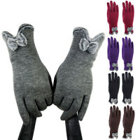 Women Winter Touch Screen Gloves Outdoor Velvet Warm Lined Bow Mittens Newly