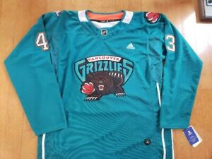 Quinn Hughes Mash-Up Vancouver Canucks & Grizzlies Authentic Adidas Jersey XL