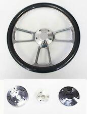 "1957 Mercury Carbon Fiber Grip and Billet Steering Wheel 14"" polished cap"