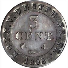 """GERMANY WESTPHALIA 1808-J  3 CENTIMES """"PATTERN""""  COIN UNCIRCULATED PCGS PR62BN"""