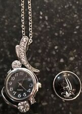 Interchangeable Snap 20mm Charm Watch  Necklace  Silver  Rhinestones  2 Buttons