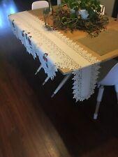 "VTG Snowman Table Runner 88""x20""  Heritage Lace White"