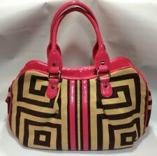 Bodhi Geometric Pink Tan Brown Satchel Handbag Purse Leather Trim