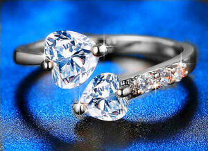 Double Heart Adjustable Ring 925 Sterling Silver Womens Girls Jewellery Gifts UK