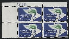 US Scott #1234, Plate Block #27562 1963 Alliance Progress 5c FVF MNH Upper Left