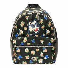 NEW Coach F57636 Tea Rose Floral Print Nylon Mini Charlie Backpack- Black Multi
