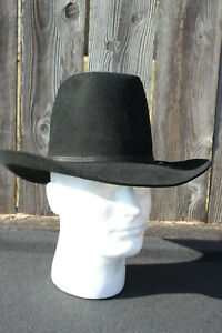 Vintage American Hat Company 6 7/8 Black Felt Cowboy Hat, Texas Sold