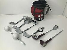 Novelty Bar Utensil Set Golf Cart Bag Clubs Mid Century Mcm 60s Japan 8 piece