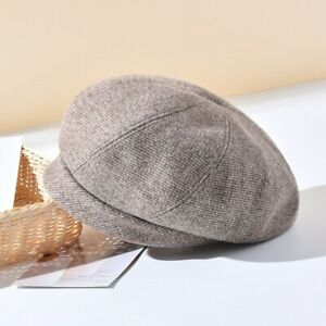 Women Retro Plaid Beret Hat Ladies Wool Blend Warm Winter Casual Beanie Cap Gift