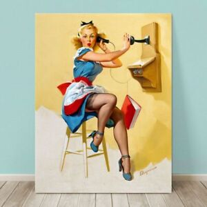 """VINTAGE Pin-up Girl CANVAS PRINT Gil Elvgren  36x24"""" What a line"""