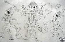 HANUMAN SITA AFFEN GOTTHEIT HINDUISMUS ORIGINAL 1845 INDIA DIVINE MONKEY INDIEN