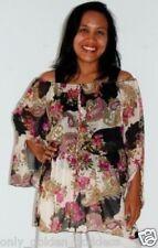 multi black blouse top elastic waist pleasant S M L zh608