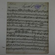 antique music manuscript MOZART posthorn serenade in D kv 320 bassoon 1 part