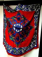 VTG MORSLY NY 36 x 37 1/2 Square Scarf Floral Scroll Vine Red Hunter Blue EUC
