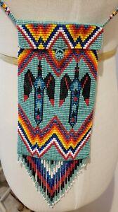 Native American Indian Design Beaded Medicine Bag Pouch Boho Bead Purse