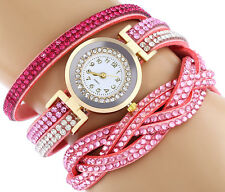 s* Women Casual Watch Bracelet Crystal Leather Dress Analog Quartz Wrist Watches