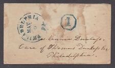 """**US Stampless Cover, Philadelphia, PA Drop Rate """"1"""" in Octagon Blue H/S"""