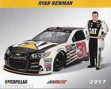 """2017 RYAN NEWMAN """"CATERPILLAR RACING RCR"""" #31 MONSTER ENERGY NASCAR CUP POSTCARD"""