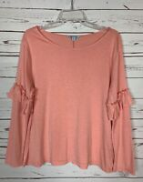 She + Sky Stitch Fix Women's L Large Pink Long Ruffle Sleeve Cute Top Shirt Tee