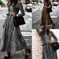 Élégant Femme Robe Manche Longue Imprimé léopard Taille ajustée Dresse Maxi Plus