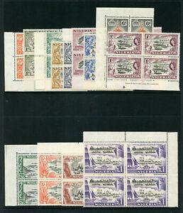 Nigeria 1953 QEII set complete in blocks of four superb MNH. SG 69-80.