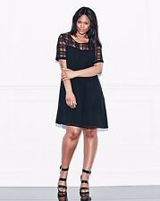 Lovedrobe Grid Mesh Swing Dress UK18 Black rrp £43 DH076 EE 03