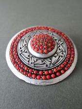 Vintage Art Deco Brooch with Salmon Coral Color Glass Details