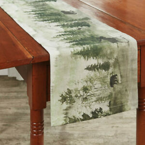 Watercolor Wilderness 54in Table Runner Cabin Moose Bear Decorative Table Runner