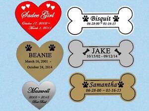 Pet Loss Memorial Engraved Name Plate Choose Bone or Heart Shape Dog Cat Any Pet