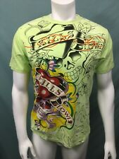 Ed Hardy LOVE KILLS SLOWLY Lime Green T Shirt New Old Stock Womens Size Large
