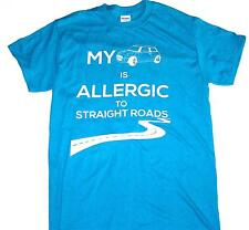 MINI COOPER T-SHIRT Fun Design! Allergic To Straight Roads SIZE LARGE TURQUOISE