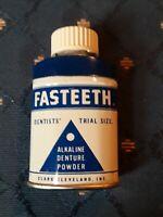 Vintage Rare Fasteeth Denture Powder Trial Size Tin - Clark Cleveland