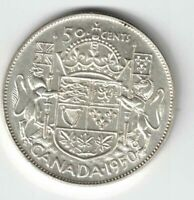 CANADA 1950 FULL DESIGN 50 CENTS HALF DOLLAR GEORGE VI .800 SILVER COIN CANADIAN