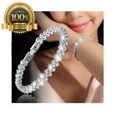 Cubic Zircon Tennis Luxury Bracelet Crystal Hand Chain Women White Gift Silver