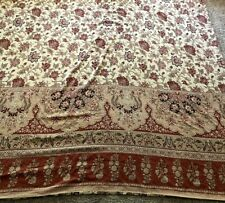 Pottery Barn QUEEN DUVET Cover Beige Tan Red Floral Paisley Palmapore Linen