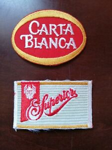 2 Vintage Mexican Carta Blanca & Superior beer patch employee uniform from 70's