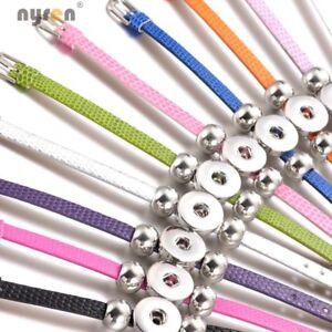 10pcs Leather 18mm Snap Charms Bangle Bracelet Multi Fit 20mm Snap Jewelry 0281