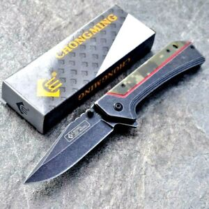 Drop Point Folding Knife Pocket Flipper Hunting Survival Tactical G10 Handle EDC