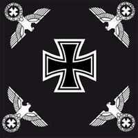DR Reichsflagge Eiserenem Kreuz EK & 4 Reichsadlern Fahne Flagge 120x120 schwarz