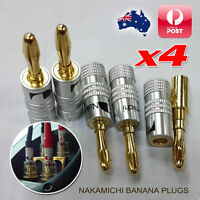 4x Nakamichi 24K Gold Plated Speaker Cable Wire Connector 4mm Banana Plug