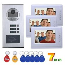 Apartment Wired Video Doorbell RFID HID Card Visual Intercom Entry System 3 Unit